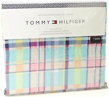 NEW Tommy Hilfiger Twin Madras Plaid 3-Piece Sheet Set Cotton Blend Pastel