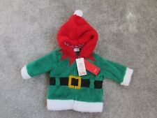 BNWT NEW F&F unisex baby boys 0-3 up to 3 months Christmas Elf fleece jacket