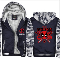 Anime Deadpool Mens Coat Thicken Hooded Sweatshirt Zipper Jacket Winter Costume