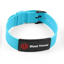 IDtagged Silicone Medical Alert Blood Thinner Matte Black Tag ID Bracelet