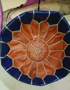 Authentic Round Royal Blue / Brown leather Moroccan Pouf, Ottoman Pouf