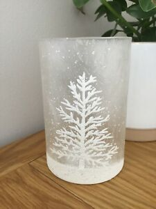 Gisela Graham Christmas frosted glass snowy tree tea light holder 13.5cm