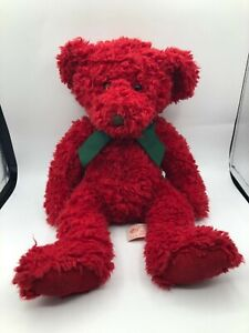 Russ Berrie Redford Red Teddy Bear Bow Tie Plush Stuffed Toy Animal Christmas