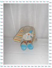 C - Doudou Peluche Lapin Gris Cocard Feuille Verte Grandes Oreilles Tex Baby