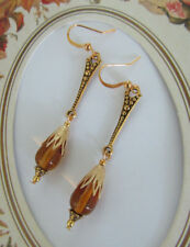 VINTAGE ANTIQUE STYLE Amber Glass DROP EARRINGS  Gold Tone
