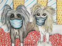 Chinese Crested in Quarantine Original 9x12 Pastel Painting Dog Pop Art by KSams