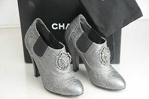 NEW CHANEL Metallic Silver Lion Brooch Ankle BOOTS Booties Shoes 39