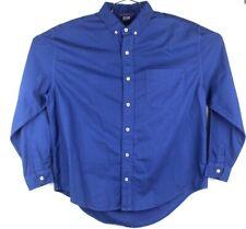 fresh produce shirt mens medium long sleeve button front cotton blue