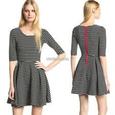 Stylish Ladies Women O-neck Medium Sleeve Stripe A-line Casual Mini Dress N98B