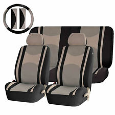 BEIGE & BK POLY MESH AIRBAG READY & SPLIT BENCH SEAT COVERS COMBO FOR CARS 1345