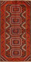 Tribal Geometric Sirjan Hand-Knotted Runner Rug Wool Oriental Hallway Carpet 3x7