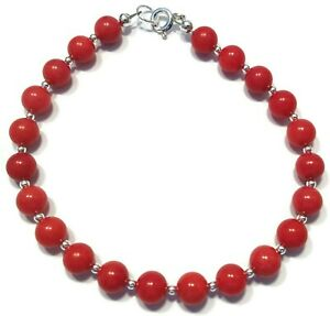 Coral Bracelet in Sterling Silver + Red Coral Gemstone Beads 5 Lengths Available