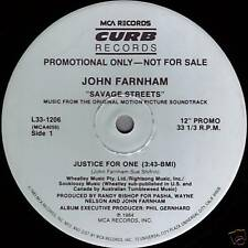"""JOHN FARNHAM Justice For One ((**NEW 12"""" DJ SINGLE**)) from SAVAGE STREETS Movie"""