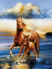 Matted Mare and Foal Foil Art Print~Affordable Art~8x10~Animal