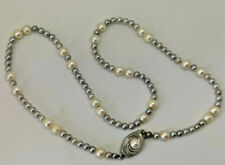 """14ct White Gold 16"""" White & Grey Cultured Pearl Necklace.  Goldmine Jewellers."""