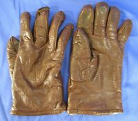 STETSON Vintage HEAVYWEIGHT BROWN LEATHER GLOVES Real Fur Liner COWBOY WORK sz 9