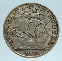 1940 PORTUGAL 0.33oz Silver 10 Escudos Coin w PORTUGUESE SAILING SHIP i83334