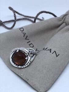 David Yurman Ster. Silver Infinity 11mm Citrine Ring Size 6.75