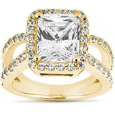 2 carat Radiant cut Diamond Wedding Halo style Engagement 14K Yellow Gold Ring
