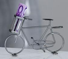 Fahrrad mit Korb Metall grau mit Korb für Geld Geschenk Deko NEU