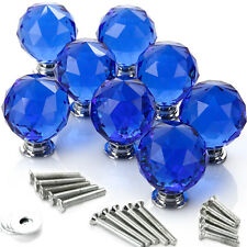 8*40mm Blau Glasknopf Möbelknöpfe Möbelgriffe Möbelknauf Schrankknopf Knopf