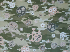 CAMO SKULLS BONES FLOWERS GREEN WHITE SKULL COTTON FABRIC BTHY