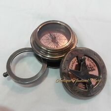 Antique Nautical Brass Sundial With Magnifier Flipout Compass Gift