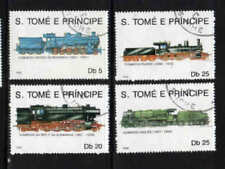 ST. THOMAS & PRINCE #924-928  1990  LOCOMOTIVES      MINT VF NH O.G  CTO