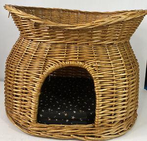 "Wicker Cat Condo Two Tiers Kitty Sleeping House 17""x21""x15"""