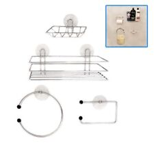 Chrome Wire Bathroom Shower Accessories Set Kit Modern Suction Easy Fitting UKDC