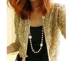 Korean Small Daisy Flower Pearl Long Black and White Necklace UK Seller