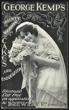 Camden Town. George Kemp's Wedding Cakes Advert. Brewery Road, London N.