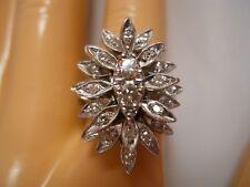 HEAVY 9.07G WIDE 14K WHITE GOLD VS1 .80CT DIAMOND FLOWER ART DECO STARBURST RING