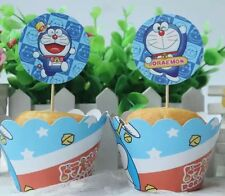 12x Doraemon Cupcake Toppers + Wrappers. Party Supplies Lolly Loot Bags