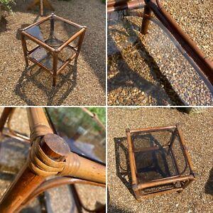 🌟Vintage bamboo & Smoked glass coffee table rattan table boho midcentury cane