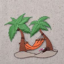 Palm Trees Orange Hammock - Tropical/Beach - Iron on Applique/Embroidered Patch