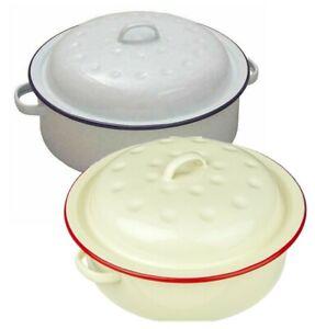 20cm ENAMEL ROUND ROASTER DISH ROASTING OVEN TRAY CASSEROLE PAN | WHITE | CREAM