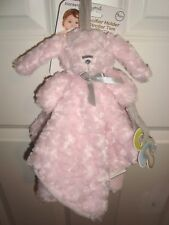 Blankets and beyond PINK Gray BUNNY RABBIT baby blanket pacifier holder SWIRL