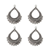 5Pc Antique Silver Water-Drop Form Charm Pendant DIY Necklace Earring Jewelry