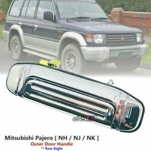 1x Rear Right Chrome Outside Door Handle For Mitsubishi Pajero Shogun 1991-97