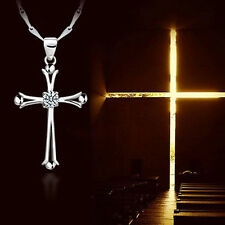 Jewelry Rhinestone Crystal Cross Shaped Pendant Necklace Silver Plated