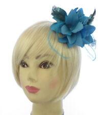 azul flor y Pequeño Plumas Tocado Clip y broche,BODAS,carreras