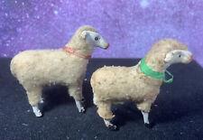 Antique Vintage Wooden Stick Leg Wooly Sheep Putz Nativity Lot of 2