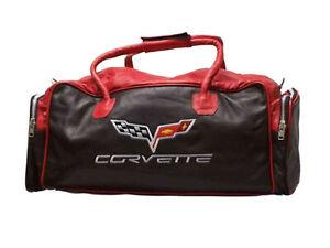 C6 Corvette Leather Embroidered Emblem Duffel/Travel Bag Red/Black