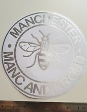 Manchester bee Manc & proud stainless steel silver decal sticker