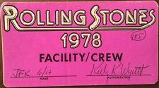 Rolling Stones-1978 - Facility/Crew Pass - JFK Stadium - signed VERY RARE!