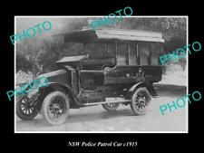 OLD LARGE HISTORIC PHOTO OF NEW SOUTH WALES POLICE PATROL CAR c1915