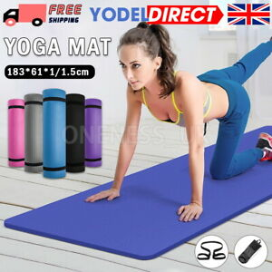 Yoga Mat Large Thick Non Slip With Carrier Strap Exercise Pilates Gym Work Mats