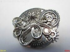 Steampunk pin badge brooch silver kraken octopus clock watch timepiece