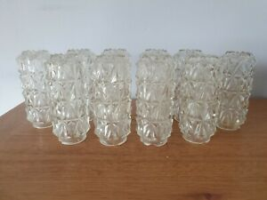Retro Clear Patterned Glass Heavy Shade Mid Century Ceiling Fitting